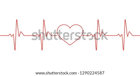 Heart pulse. Red and white colors. Heartbeat lone, cardiogram. Beautiful healthcare, medical background. Modern simple design. Icon. sign or logo.