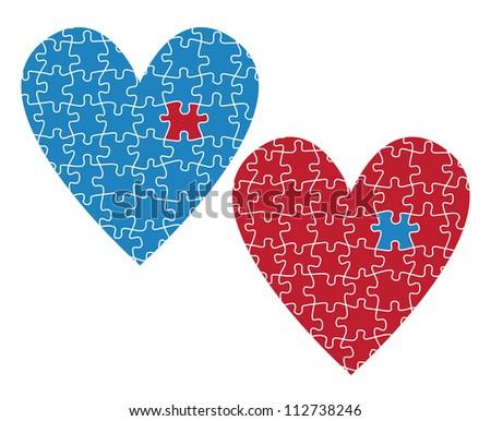 Heart puzzle vector love concept