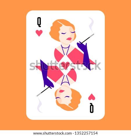 heart queen modern playing card