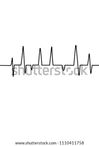 Heart rate graph. Vector illustration. (Electrocardiogram or ECG) heart