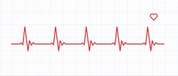 Heart rate graphics. Vector illustration.. Electrocardiogram. Heartbeat Cardiogram Icon Vector Logo Template. illustration of medical electrocardiogram - ECG on chart paper