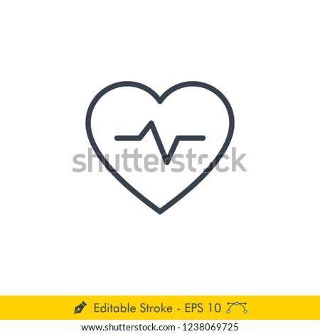 Heart rate (Heartbeat) Icon / Vector - In Line / Stroke Design