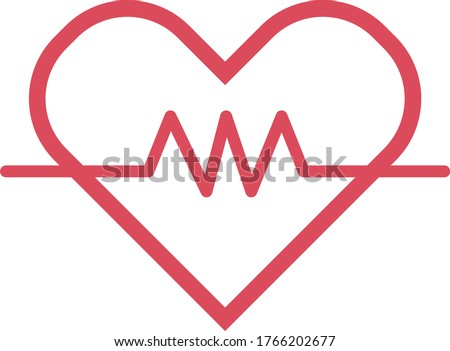 Heart rate icon - health monitor. Red Heart Rate.Blood pressure vector icon, heart cardiogram, good health logo, healthy pulse flat symbol, medical pulsometer element