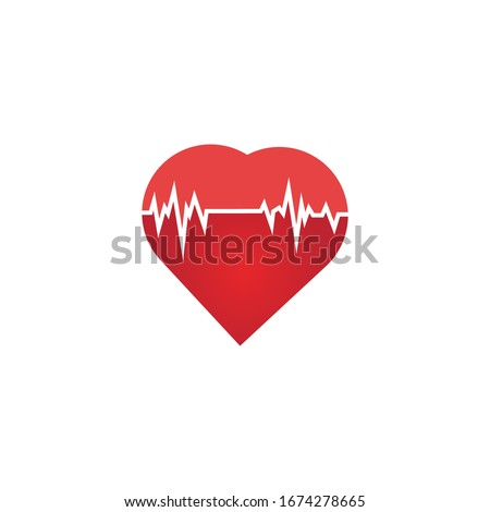 Heart rate icon - health monitor. Red Heart Rate.Blood pressure vector icon, heart cheering cardiogram, good health logo, healthy pulse flat symbol, medical pulsometer element.