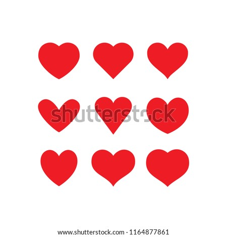 Heart red icons, sign of love, isolated vector collection