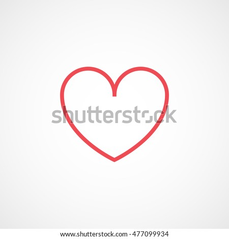heart red line icon on white