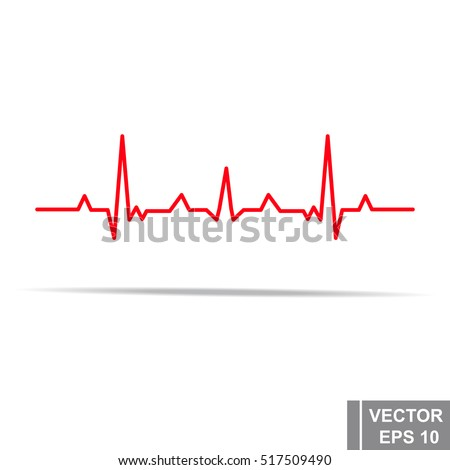 Heart rhythm. Cardiogram. Isolated on white background. Icon.
