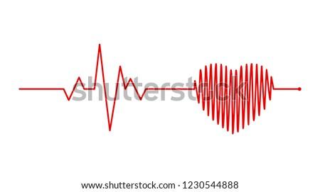 heart rhythm, Electrocardiogram, ECG - EKG signal, Heart Beat pulse line concept design isolated on white background