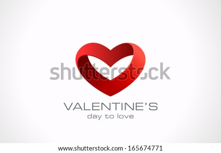 Heart ribbon vector logo design template. Looped shape. Infinity love concept for st. Valentine day icon.