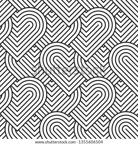 Heart seamless geometric pattern, endless texture. Monochromes striped hearts on white background.Vector illustration for Valentine's Day,wedding,holiday,love.