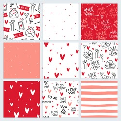 Heart seamless pattern vector set for Valentines day gift wrapping. Red, coral, peach pink love themed lettering and images design.