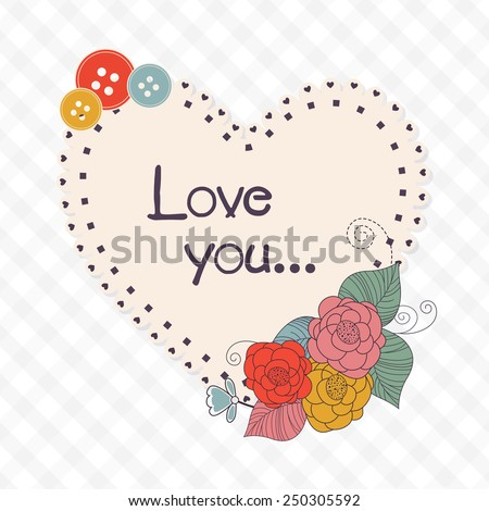 Heart shape beautiful frame with text Love You decorated by colorful flowers and buttons for Happy Valentine\'s Day celebration.