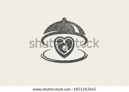 Heart shape beef steak silhouette served on tray with open cloche hand drawn stamp effect vector illustration. Vintage grunge texture emblem for package and menu design or label decoration. Photo stock ©