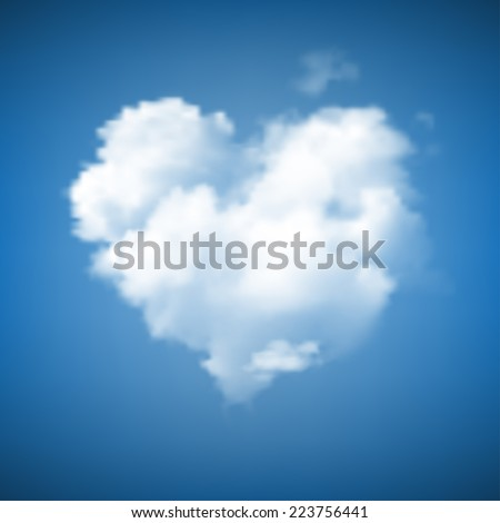 heart shape cloud on blue sky