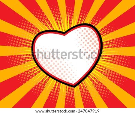 heart shape comic book  pop art