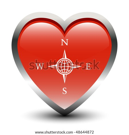 Heart Shape Compass Sign Icon