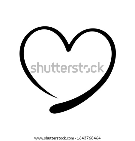 heart shape doodle black line isolated on white, frame heart shape art line sketch brush for valentine, heart shape sign with hand drawn for element icon love card, draw line heart shape simple black