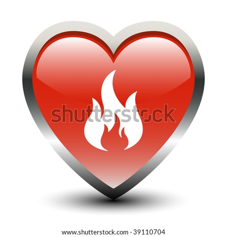 Heart Shape Fire Sign Icon