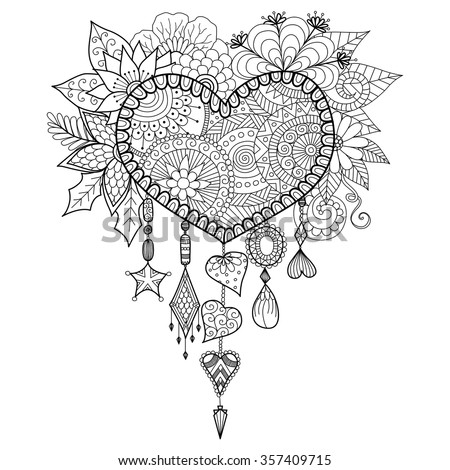 Heart shape floral dream catcher for coloring book for adult