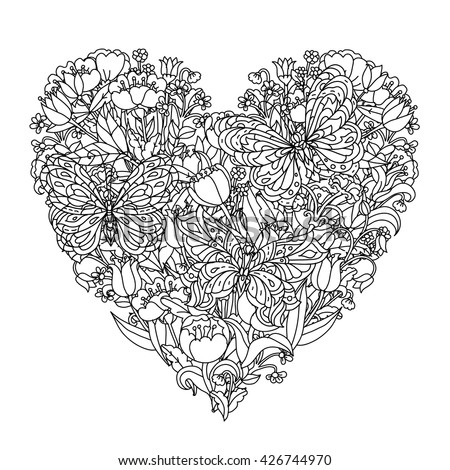 Heart Shape Flowers And Butterfly For Stock Photo 426744985
