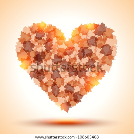 Heart shape from autumn leaves