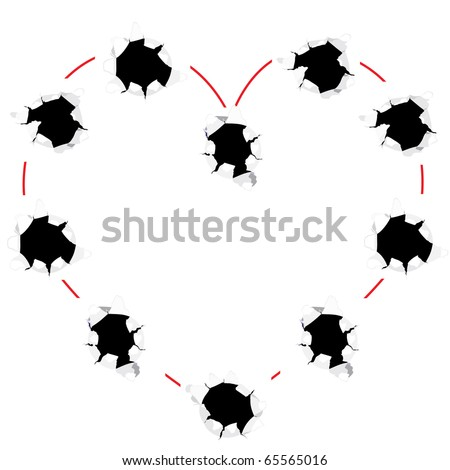 Heart shape from bullet holes