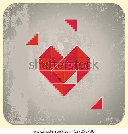 Heart shape from triangles on grunge background. Vector illustration.