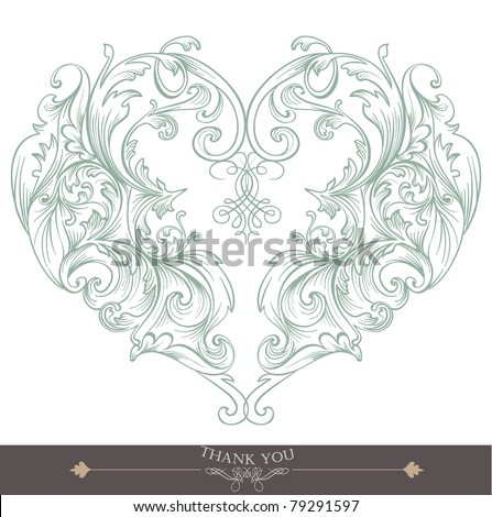 heart shape greeting card - stock vector