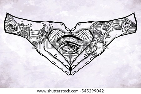 Heart shape hand gesture with an mystic eye inside. Hands are tattooed. Vector illustration isolated. Tattoo design, alchemy, religion, spirituality, occultism, ghetto street art.