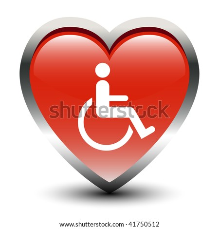 Heart Shape Handicapped Sign Icon