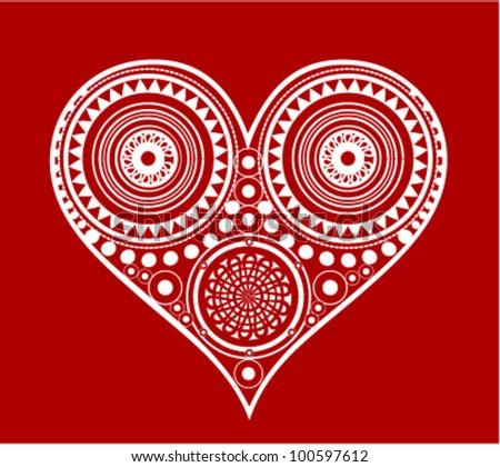 Heart Shape Illustration with Traditional Ornament