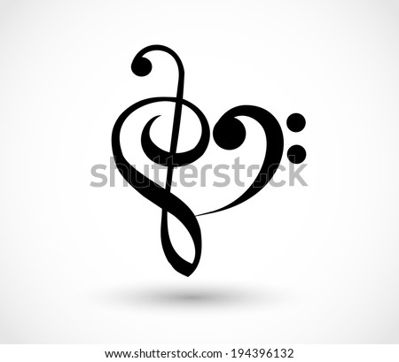heart shape made of g clef  to