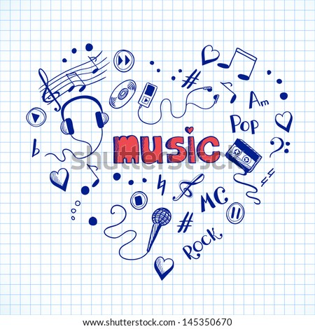 Heart shape made of music elements. Hand drawn sketch illustration - stock vector