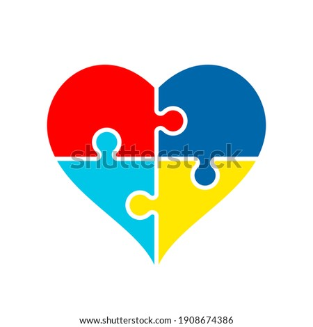 Heart shape made of puzzle pieces. Colorful Jigsaw puzzle heart. Autism awareness symbol. Autistic spectrum disorders. World autism awareness day. Asperger syndrome. Vector illustration,flat,clip art
