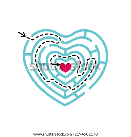 Heart shape maze with logic path from start to finish point. Symbol of labyrinth.