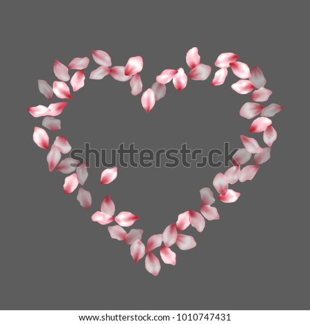 Heart shape of cherry petals flying for valentine day of love. Petals heart vector love and marriage symbol isolated on grey.  Beautiful  element for marriage card or wedding invitation template.