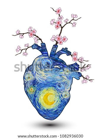 Heart shape of glowing yellow moon on a starry sky with plum blossom and branches isolated on white background. Vector illustration in the style of impressionist paintings.