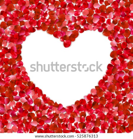 heart shape of red petals on
