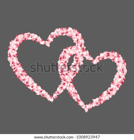 Heart shape of sakura petals flying for valentine day of love. Petals heart vector love and marriage symbol isolated on grey.  Romantic element for marriage card or wedding invitation template.