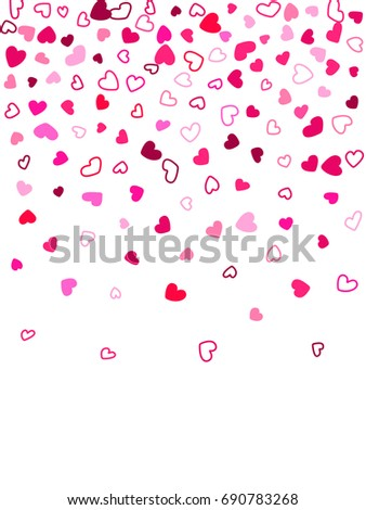 Heart shape outline love background vector. Romantic feelings, relationships concept pattern. Flying hearts confetti Valentine's day decoration. Tenderness, passion, love mood vertical graphic design.
