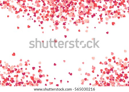 Happy Valentines Day Background With White Hearts Frame Download