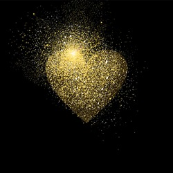 Heart shape symbol concept illustration, gold love icon made of realistic golden glitter dust on black background. EPS10 vector.