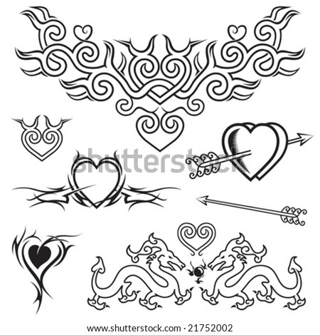 stock vector : Heart shape tattoo design, black and white vector.