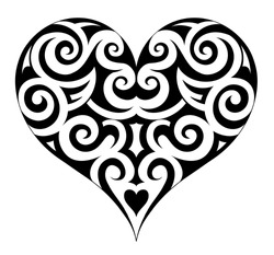 Heart shape tattoo. Mexican ethnic motif