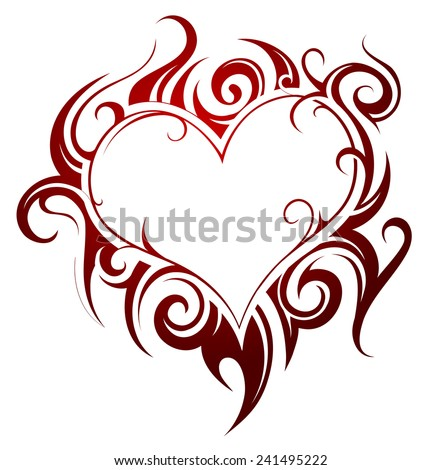 Heart shape tattoo with fire swirls