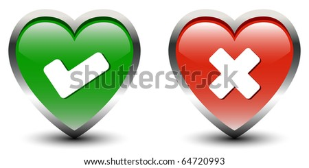 Heart Shape Tick & Cross Sign Icons