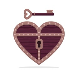 Heart shape treasure box with a key