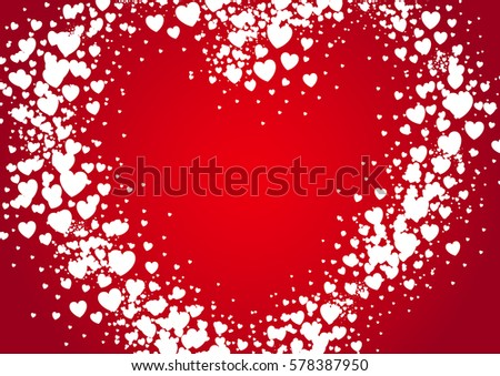 Heart shape Valentine's Day card spray painted with random white scatter hears on red background. Love and Valentine's Day concept.
