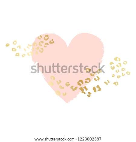 Heart shape vector background, brush illustration. Pink ink brush stroke with rich golden exotic leopard animal skin texture