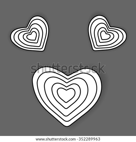 Heart shape vector icon eps 10. Black and white hearts made of stripes.